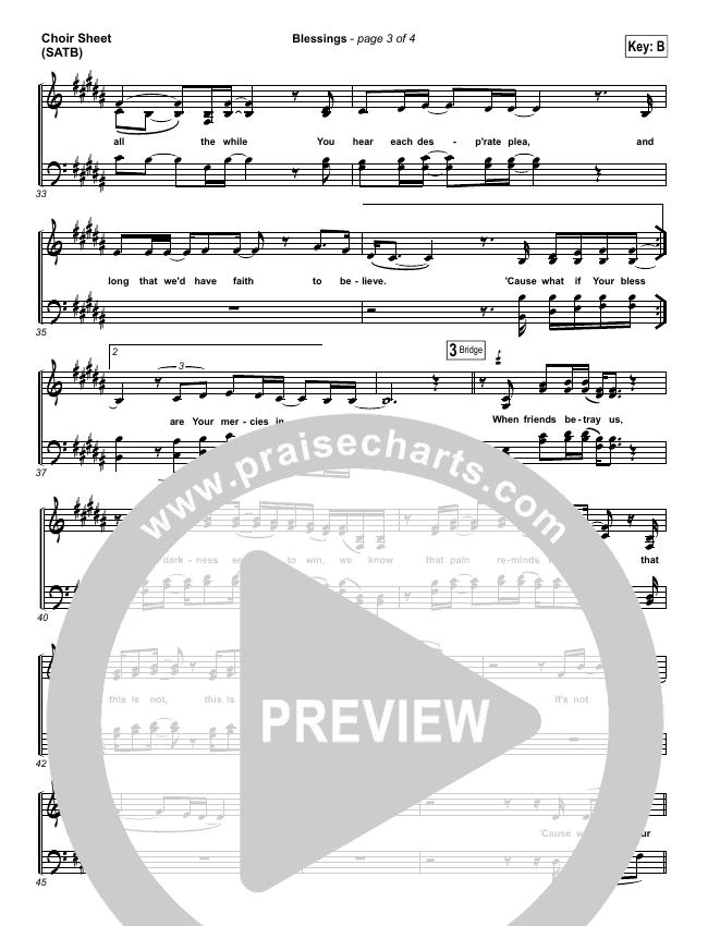 Blessings Choir Sheet Satb Laura Story Praisecharts
