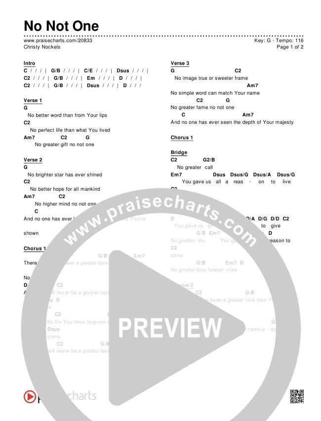 No Not One Chords - Christy Nockels   PraiseCharts