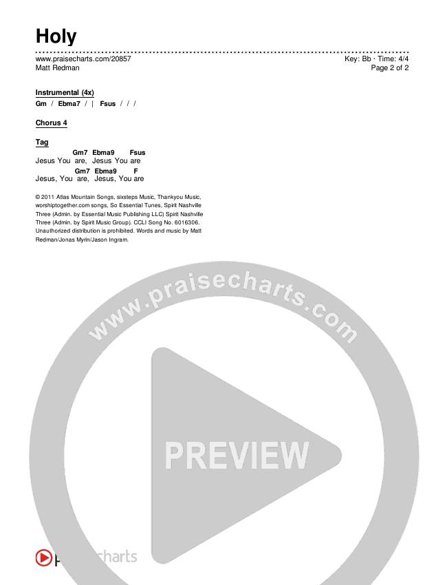 Holy Chords & Lyrics (Matt Redman)