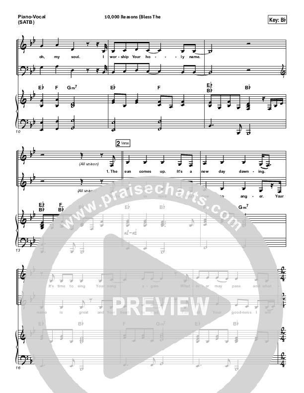 10000 Reasons (Bless The Lord) Piano/Vocal (SATB) (Matt Redman / Passion)