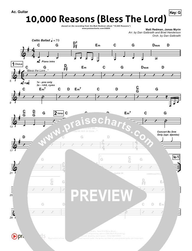 10000 Reasons (Bless The Lord) Rhythm Chart - Matt Redman, Passion ...