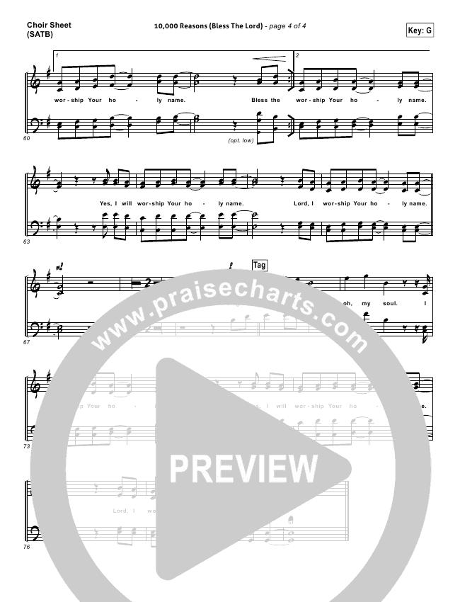 10000 Reasons Bless The Lord Choir Sheet Satb Matt Redman