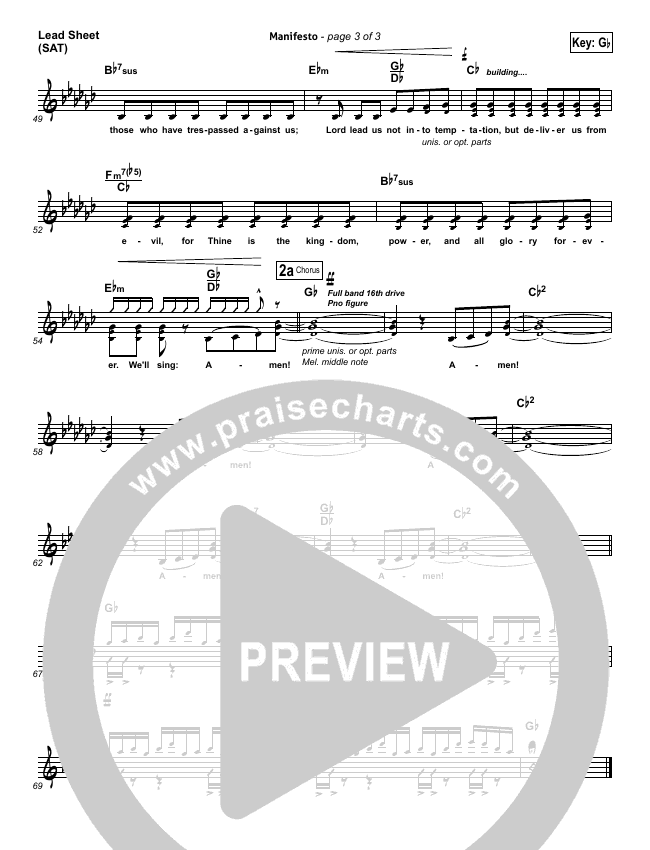 Manifesto Lead Sheet (SAT) (City Harmonic)
