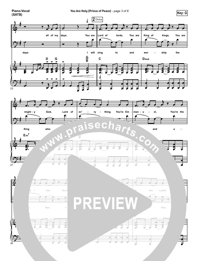 You Are Holy (Prince of Peace) Piano/Vocal (SATB) (Michael W. Smith)
