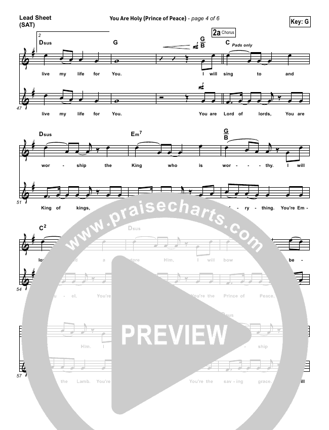 you are holy prince of peace sheet music pdf