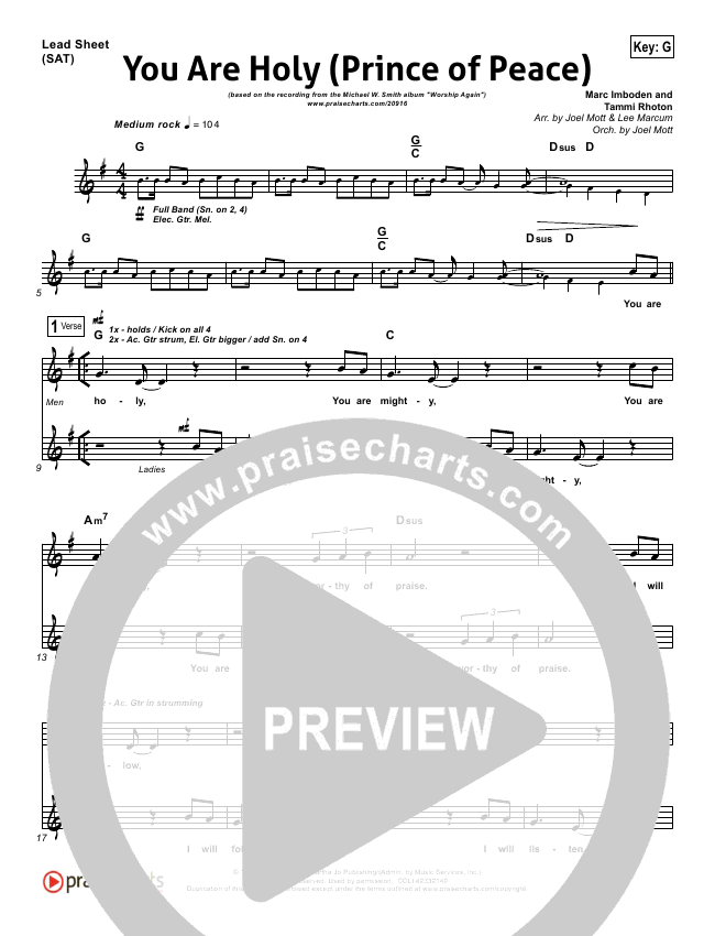 You Are Holy (Prince of Peace) Lead Sheet & Piano/Vocal - Michael W ...