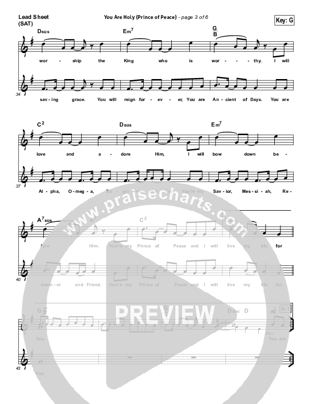 You Are Holy (Prince of Peace) Lead Sheet (SAT) (Michael W. Smith)