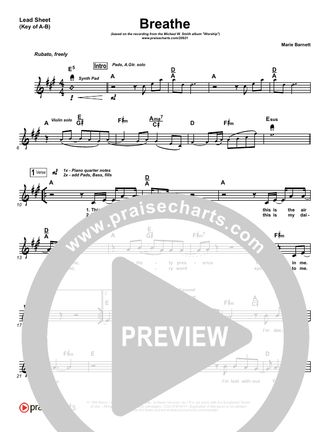 Breathe Lead Sheet (Melody) (Michael W. Smith)