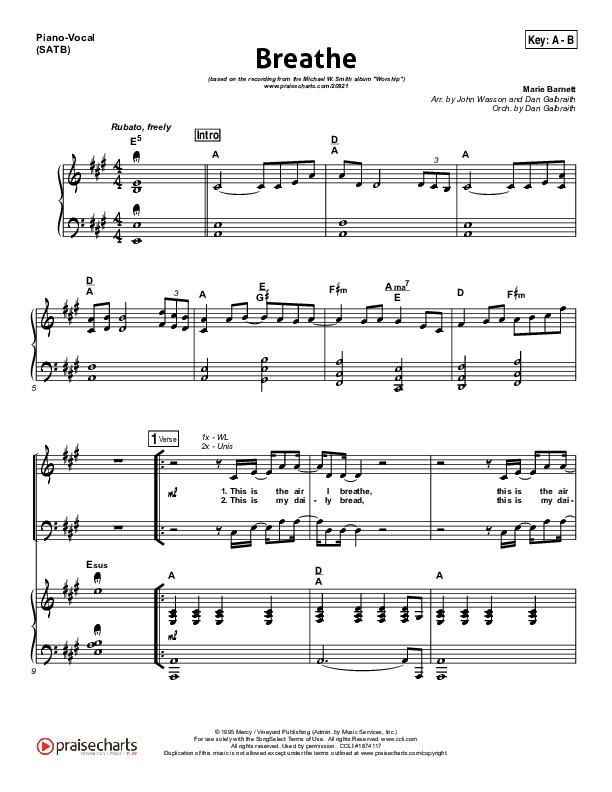 Breathe Piano/Vocal (SATB) (Michael W. Smith)