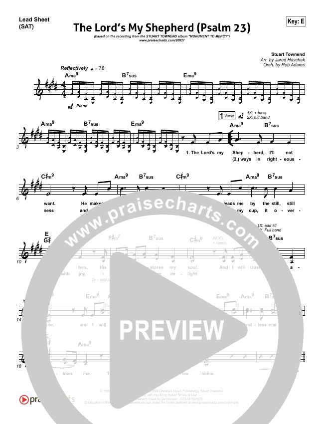 The Lord Is My Shepherd Psalm 23 Lead Sheet Piano Vocal Stuart Townend Praisecharts