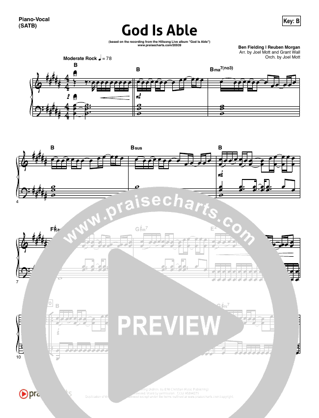 God Is Able Piano/Vocal (SATB) (Hillsong Worship)