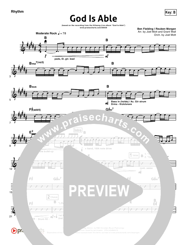 God Is Able Rhythm Chart (Hillsong Worship)