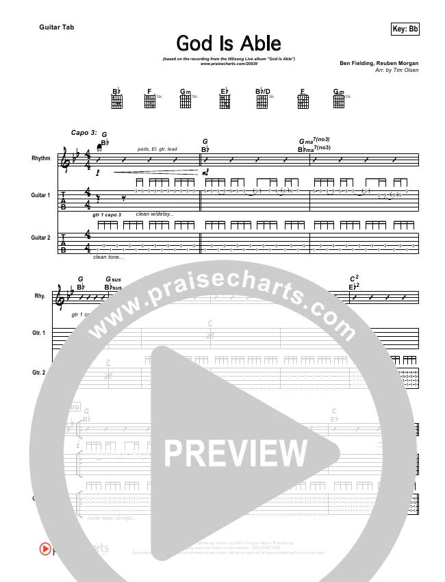 God Is Able Guitar Tab (Hillsong Worship)