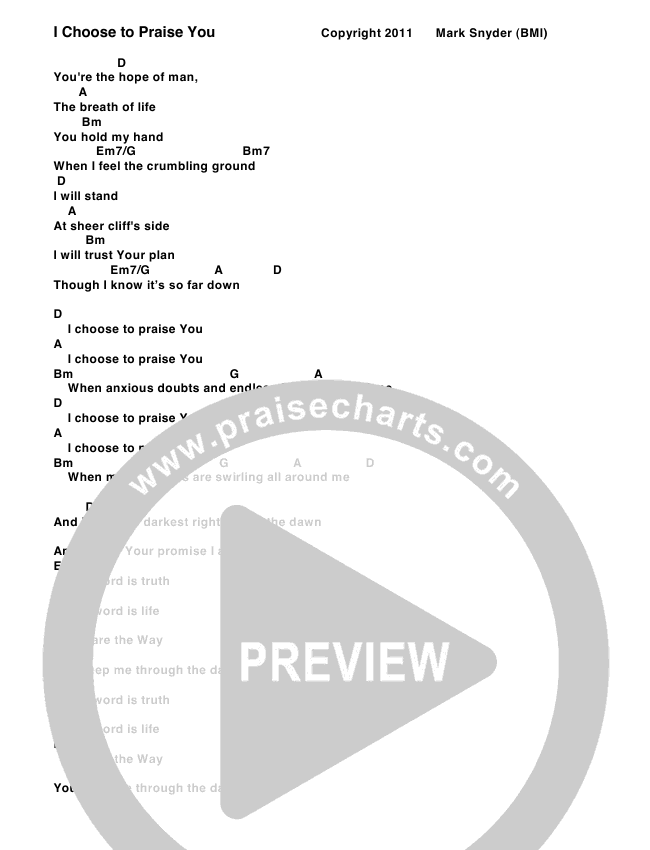 I Choose To Praise You Chord Chart (Tree Hill Collective)