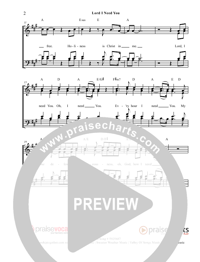 Lord I Need You Lead Sheet (PraiseVocals)