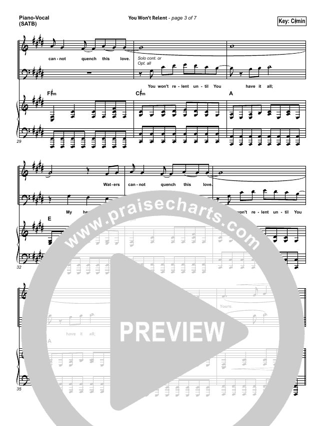 You Won't Relent Piano/Vocal (SATB) (Misty Edwards)