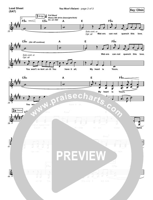 You Won\'t Relent Orchestration - Misty Edwards | PraiseCharts