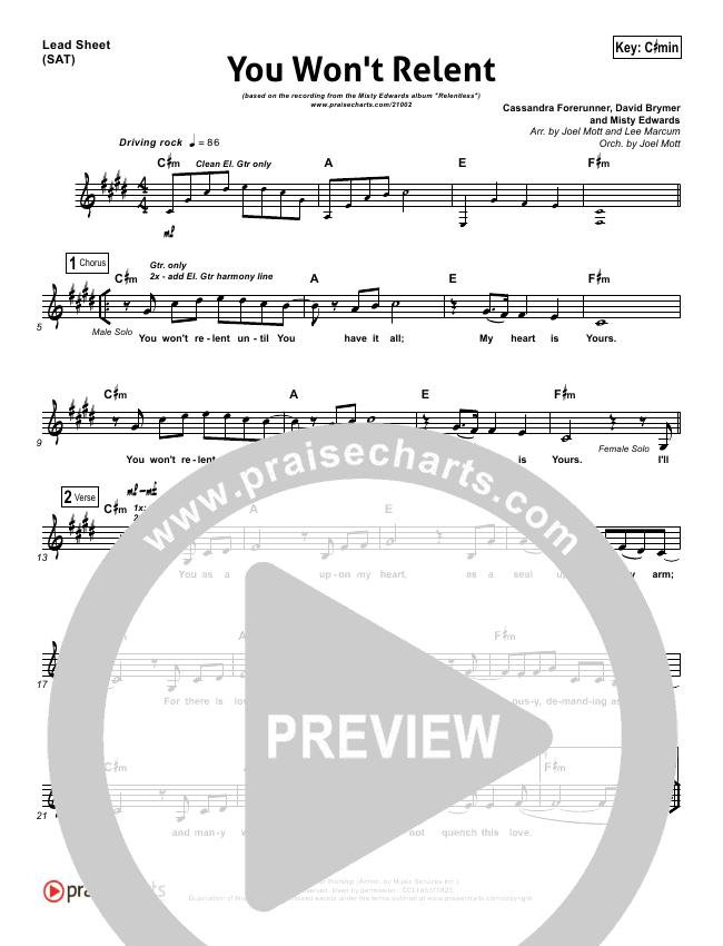 You Won\'t Relent Lead Sheet & Piano/Vocal - Misty Edwards | PraiseCharts