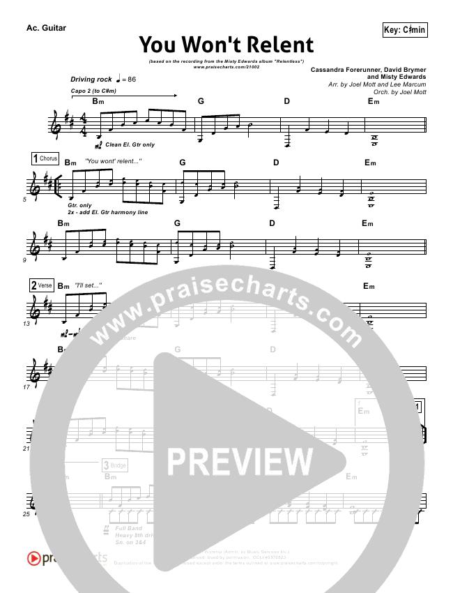 You Won\'t Relent Rhythm Chart - Misty Edwards | PraiseCharts