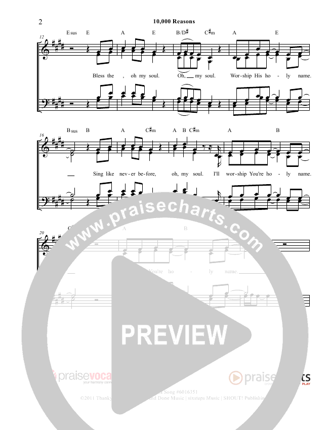 10000 Reasons (Bless The Lord) Lead Sheet (PraiseVocals)