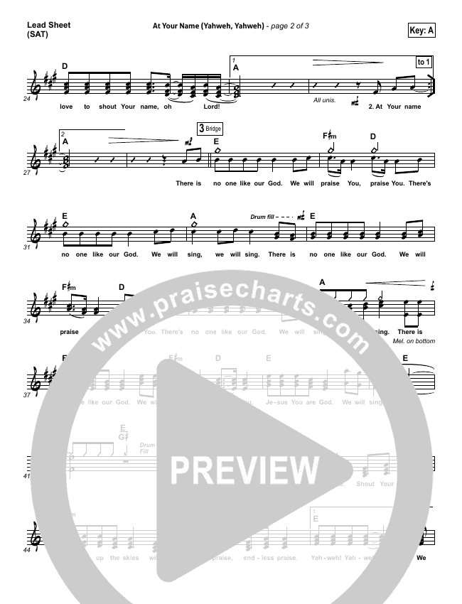 At Your Name Lead Sheet (SAT) (Phil Wickham)