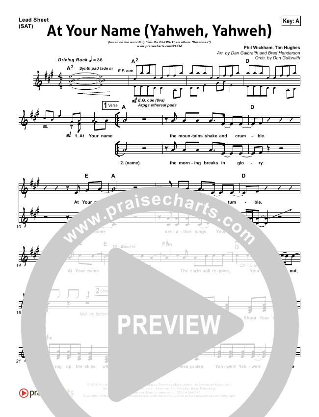 At Your Name Lead Sheet Pianovocal Phil Wickham Praisecharts