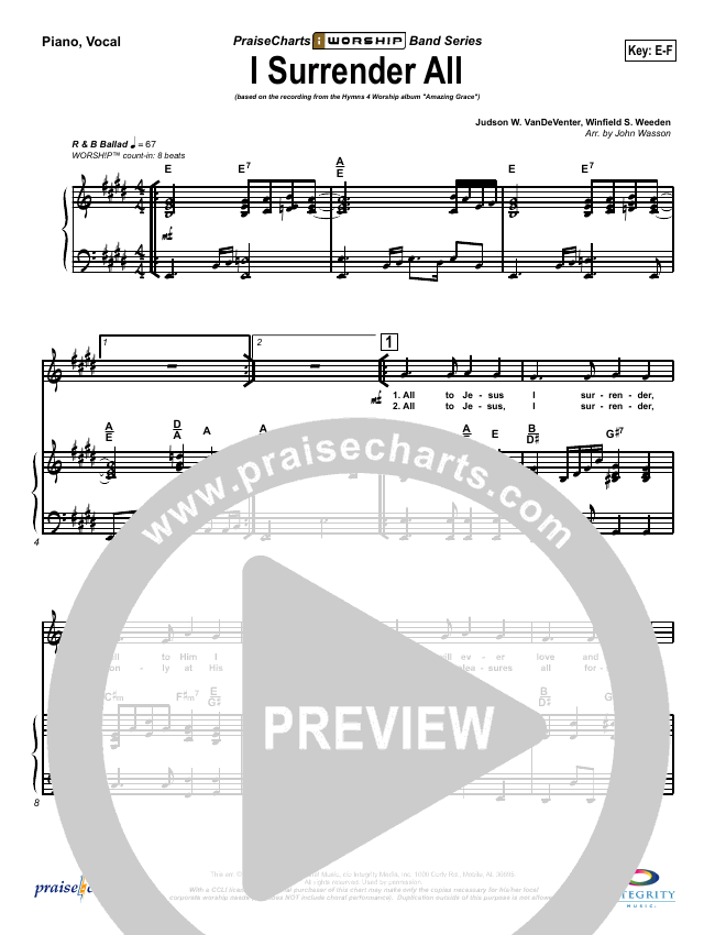 I Surrender All Piano/Vocal (SATB) (Israel Houghton)