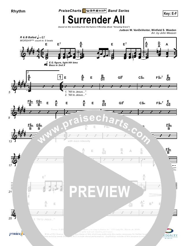I Surrender All Rhythm Chart (Israel Houghton)