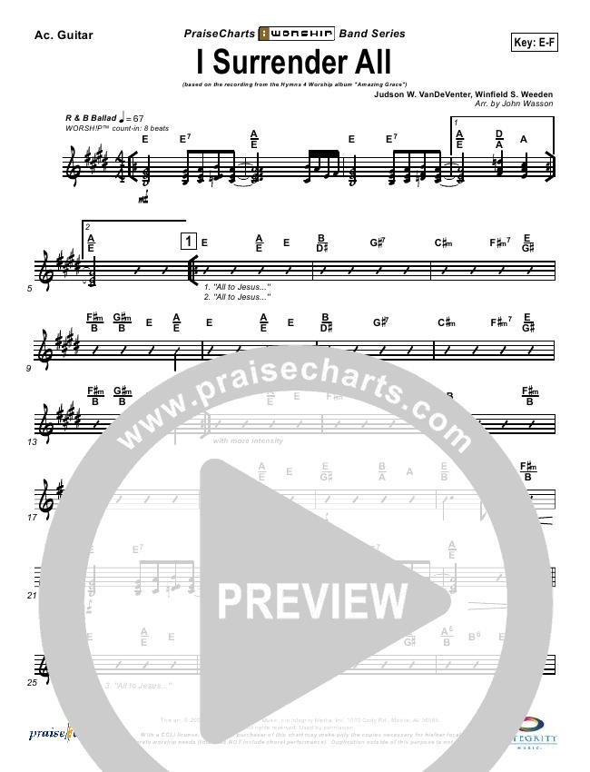 I Surrender All Rhythm Chart - Israel Houghton | PraiseCharts