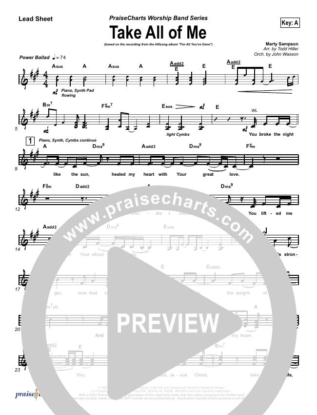 Take All Of Me Lead Sheet (SAT) (Hillsong Worship)
