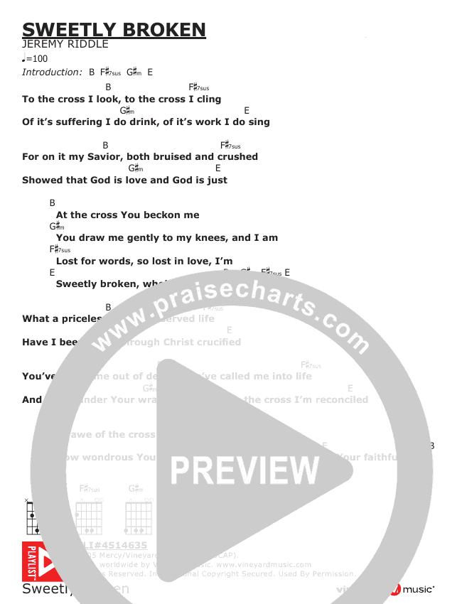Sweetly Broken Chords & Lyrics (Jeremy Riddle)