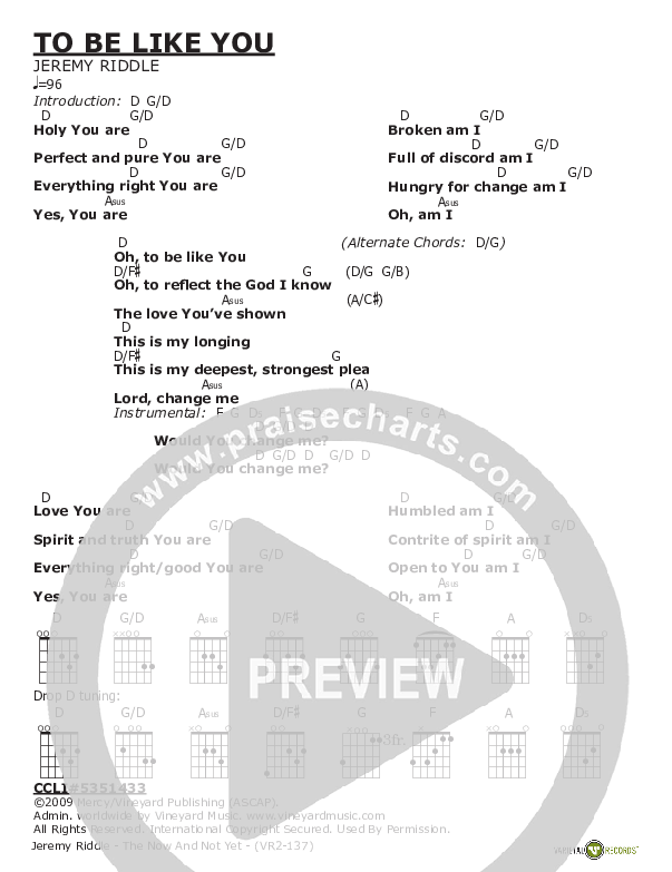 To Be Like You Chord Chart (Jeremy Riddle)
