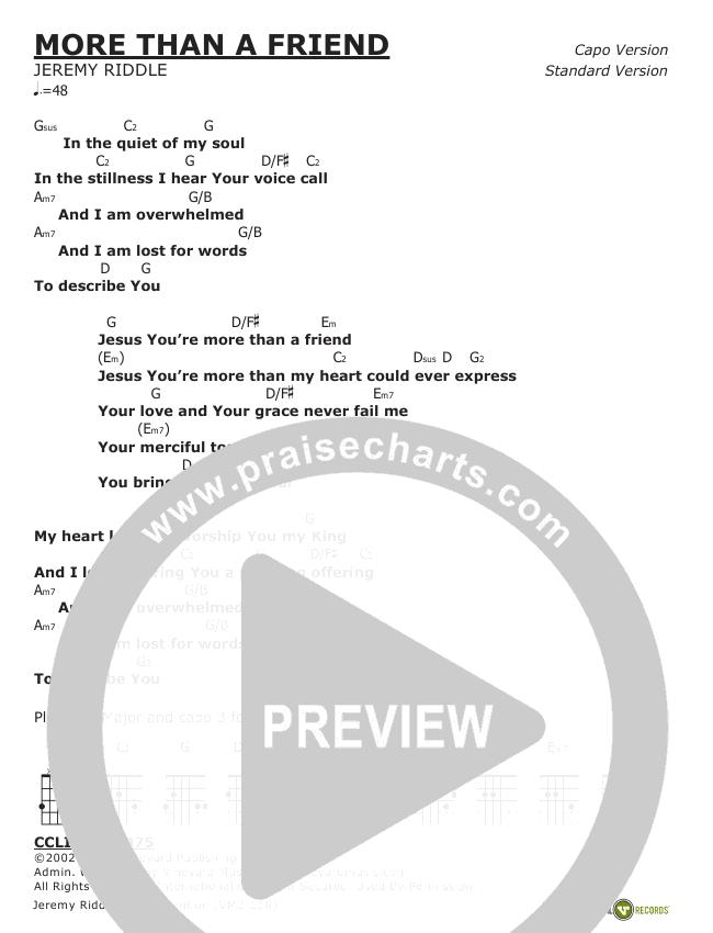 More Than A Friend Chords - Jeremy Riddle | PraiseCharts