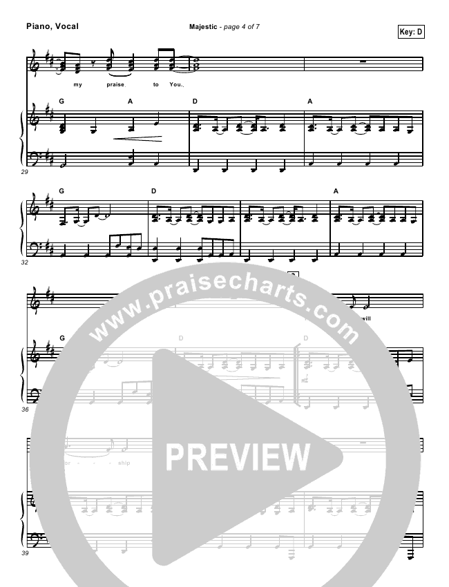 Majestic Lead Sheet Amp Piano Vocal Lincoln Brewster