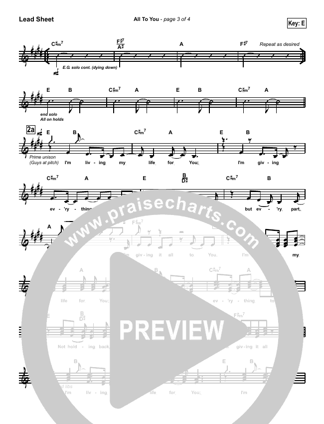 All To You Lead Sheet (SAT) (Lincoln Brewster)
