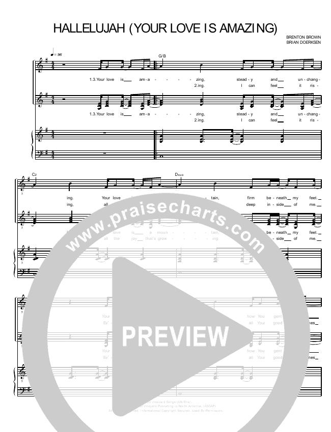 Hallelujah Your Love Is Amazing Lead Sheet Pianovocal Brenton