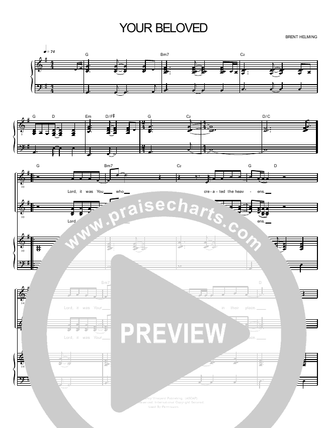 Your Beloved Lead Sheet Pianovocal Praisecharts