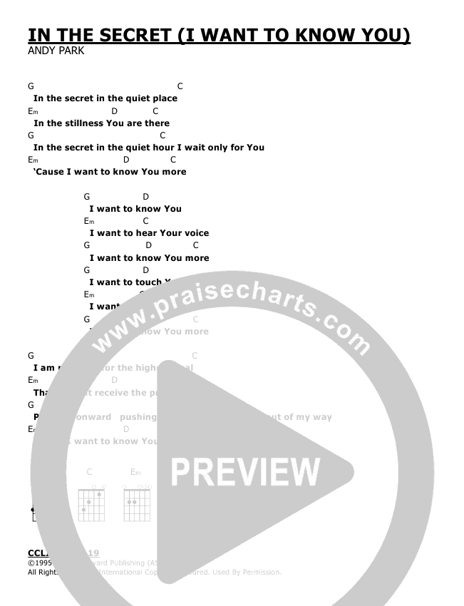 In The Secret Chords - Andy Park | PraiseCharts