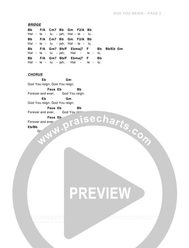 God You Reign Chord Chart (G3 Worship)
