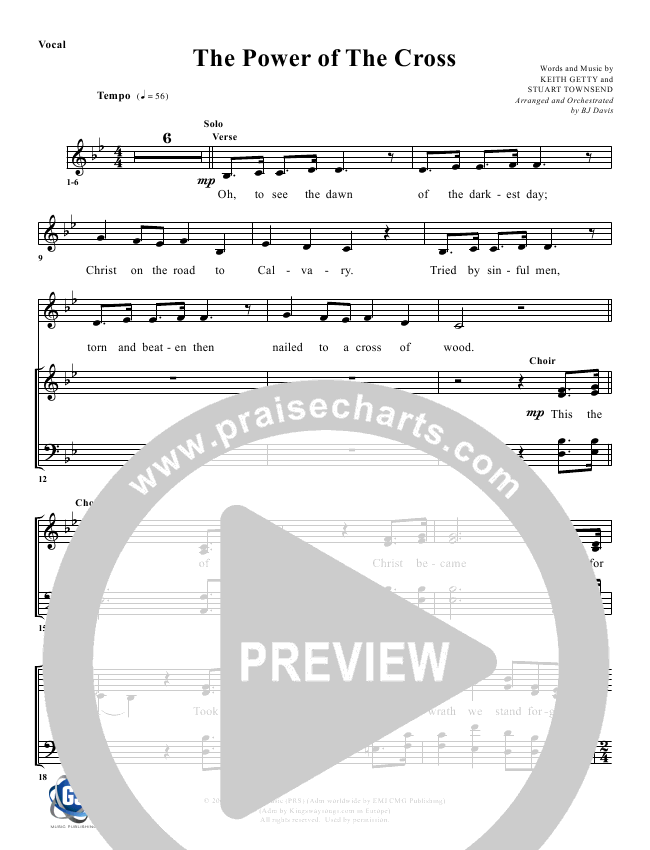 The Power Of The Cross Lead Sheet Pianovocal G3 Worship