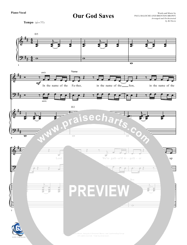 Our God Saves Orchestration (G3 Worship)