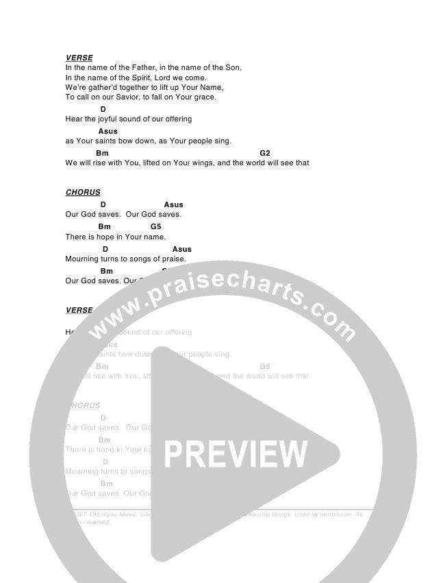 Our God Saves Chord Chart (G3 Worship)