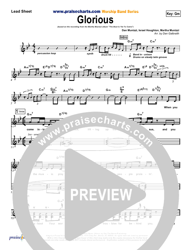 Glorious Lead Sheet Pianovocal Martha Munizzi Praisecharts