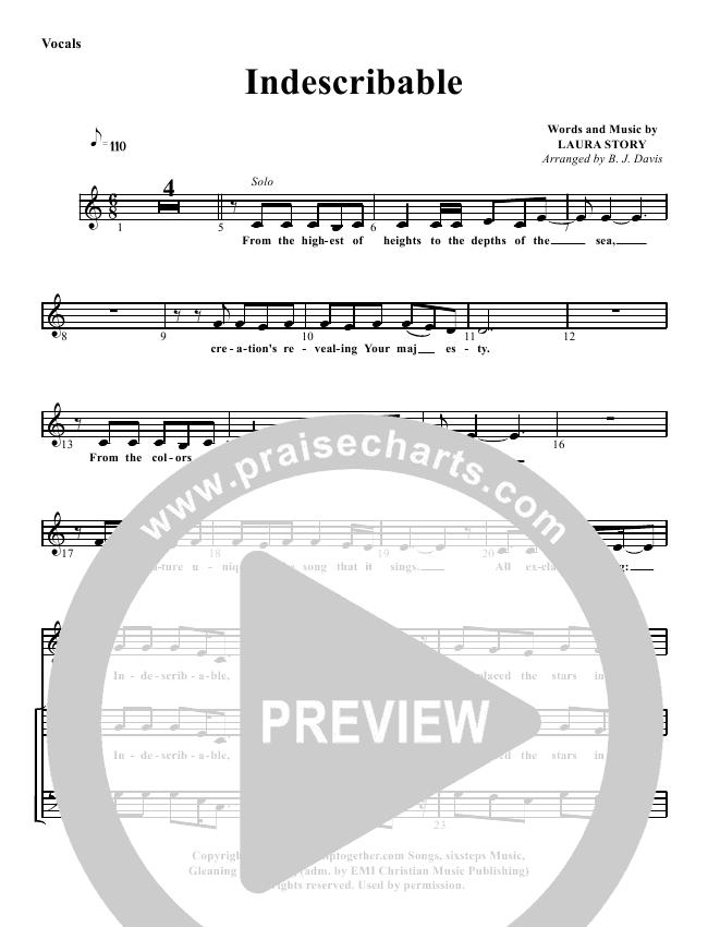 Indescribable Lead Sheet Pianovocal G3 Worship Praisecharts