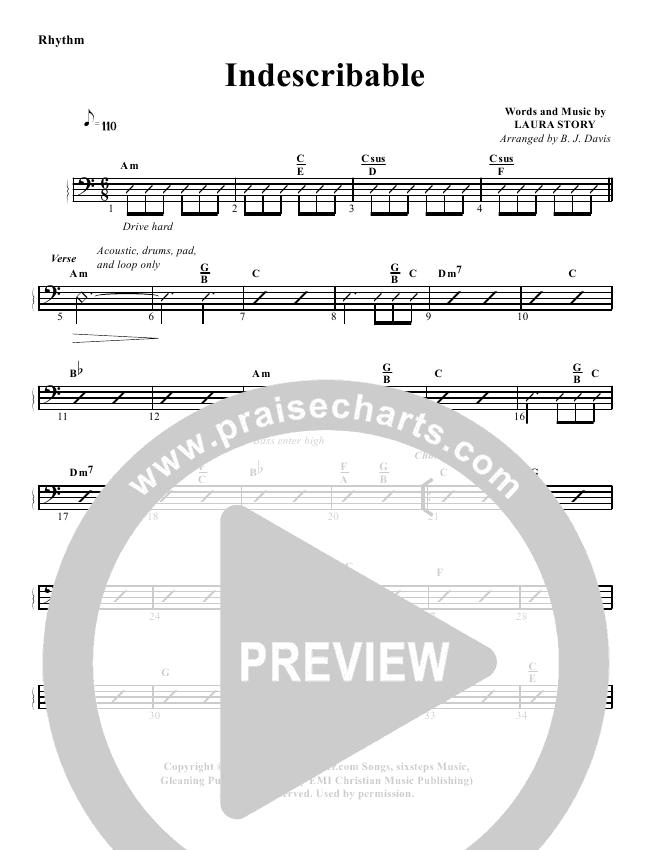 Indescribable Rhythm Chart - G3 Worship | PraiseCharts