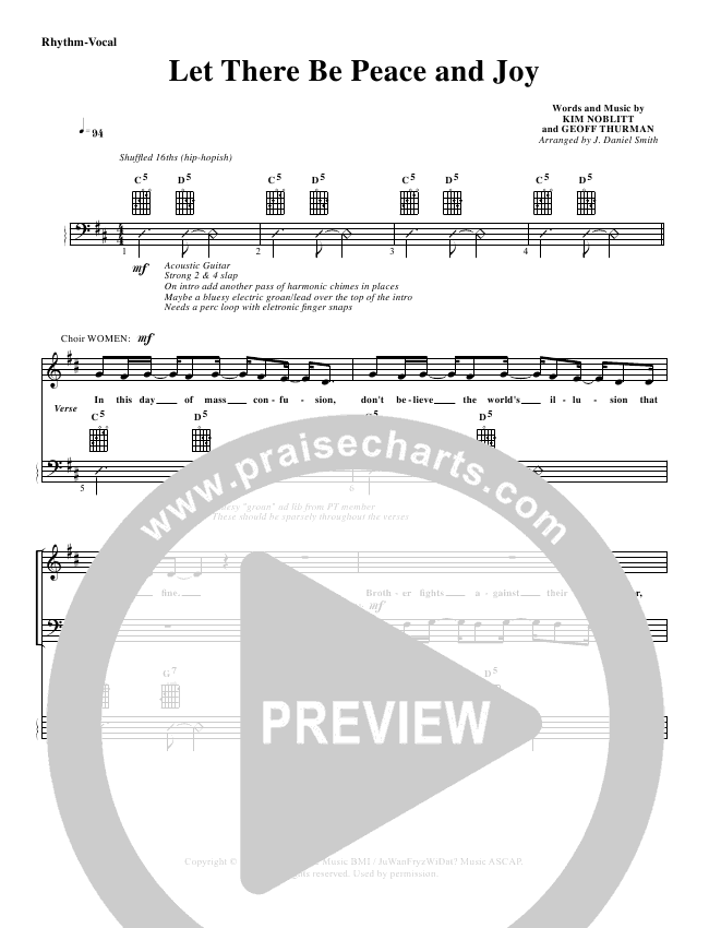 Let There Be Peace And Joy Lead Sheet & Piano/Vocal - G3 Worship ...