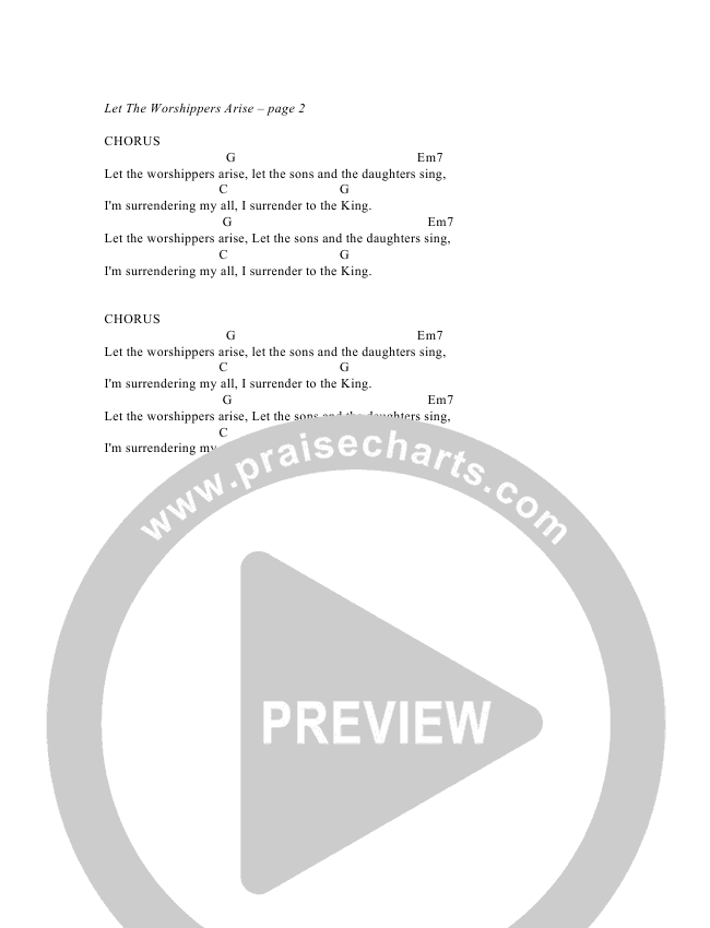 Let The Worshippers Arise Chord Chart (G3 Worship)