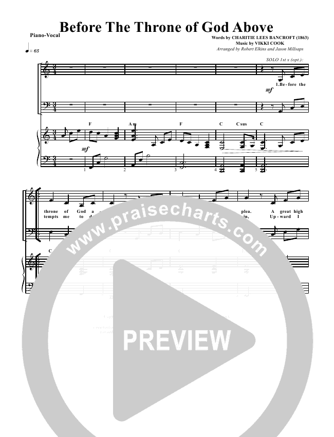 Before The Throne Of God Above Orchestration G3 Worship Praisecharts