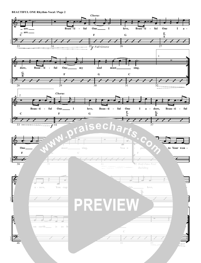 Beautiful One Rhythm Chart (G3 Worship)