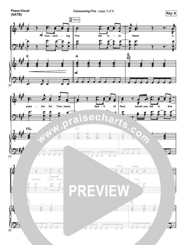 Consuming Fire Piano/Vocal (SATB) (Tim Hughes)